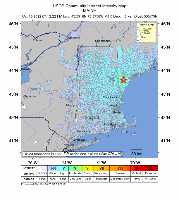 Boston Area Reports of the October 16 2012 Earthquake in Maine